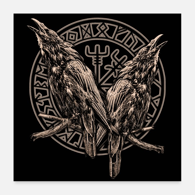 Viking Posters - HUGIN AND MUNIN AND A ROUND CIRCLE - Posters white