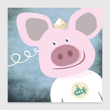 Poster pig nursery - Poster 24 x 24 (60x60 cm)
