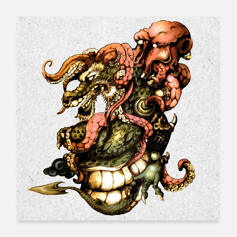 Tentacle Posters - Dragon vs octopus - Posters white
