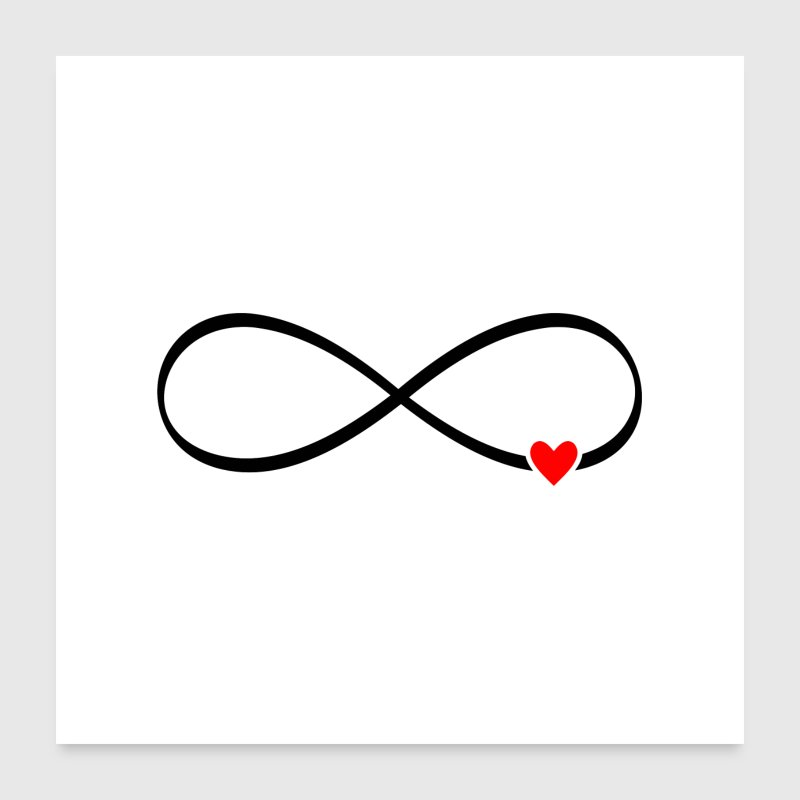 infinite love - infinity sign heart - Poster 24 x 24 (60x60 cm)