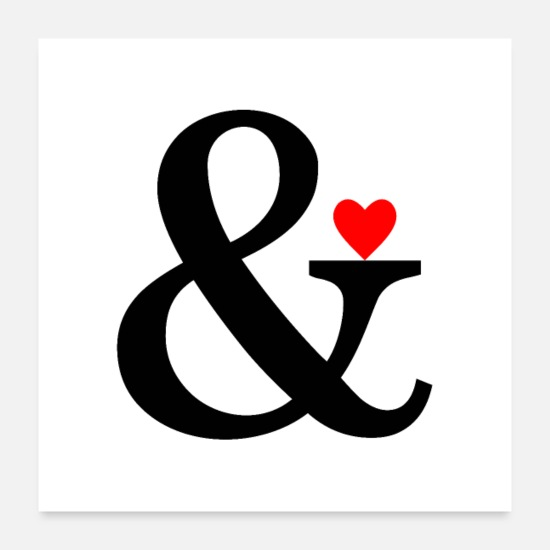 Mariage Posters - Ampersand Heart - Et Sign & Love - Posters blanc