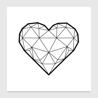 3D heart square - Poster 24 x 24 (60x60 cm)