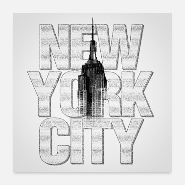 State New York Empire State Building Poster Square - Poster 24 x 24 (60x60 cm)