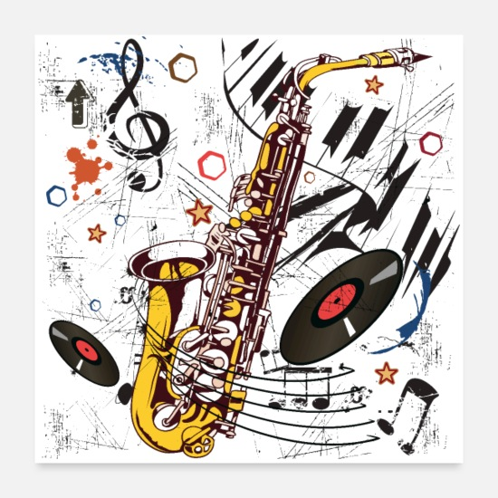 Jazz Posters - Sax Tunes - Poster - Posters blanc