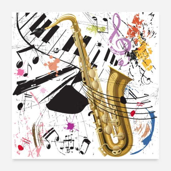 Keyboard Posters - Sax in the City - Poster - Posters white