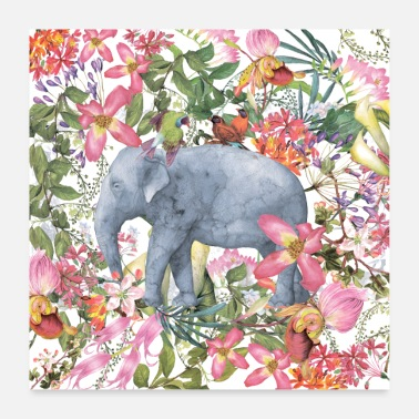 Jungle Elephant in the flowers jungle - Poster