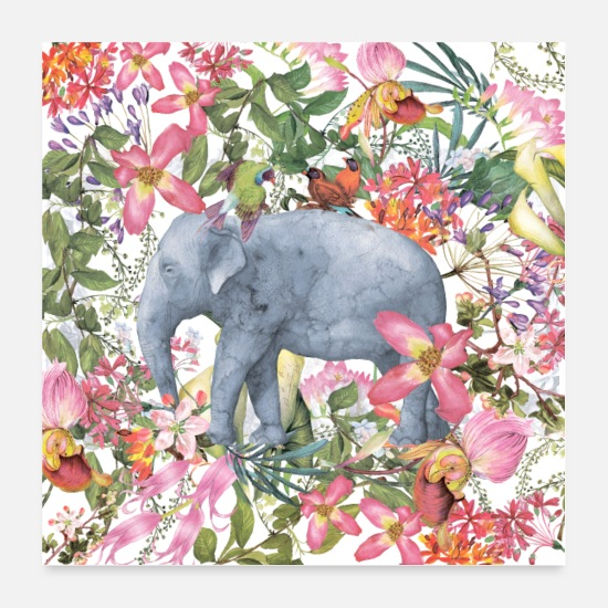 Easter Posters - Elephant in the flowers jungle - Posters white