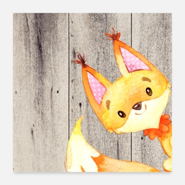 Baby Animal friends in the forest - little fox - Poster