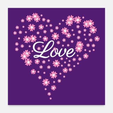 Engagement Love - Heart of flowers - Mother's Day - purple white - Poster 24 x 24 (60x60 cm)
