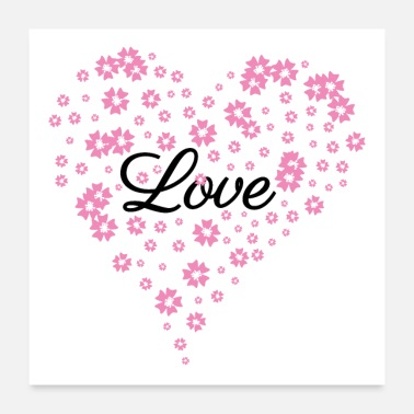 Engagement Love - Heart of flowers - Mother's Day wedding -white - Poster 24 x 24 (60x60 cm)