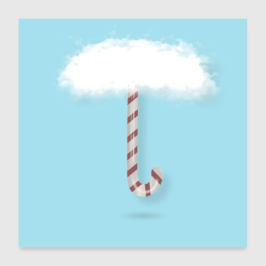 candy cane with clouds - Poster 24 x 24 (60x60 cm)