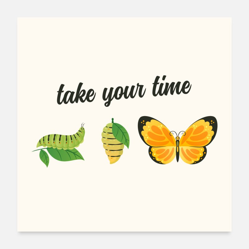 Birthday Posters - Take Your Time - Butterfly - Posters white