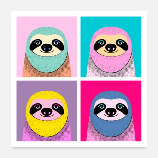 Birthday Posters - Pop Art Sloth - Posters white