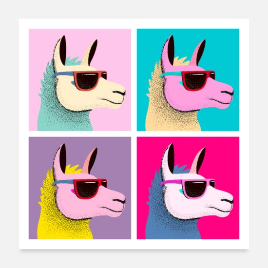Bestsellers Q4 2018 Posters - Pop Art Llama With Sunglasses - Posters white