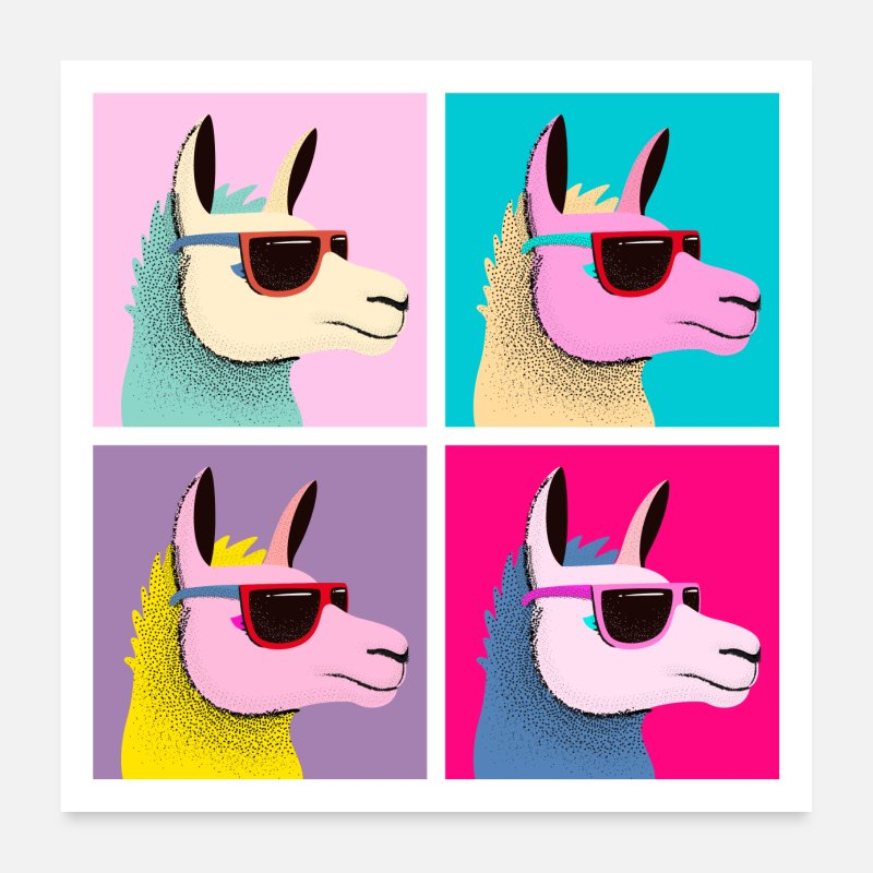Lama Posters - Pop Art Llama With Sunglasses - Posters white