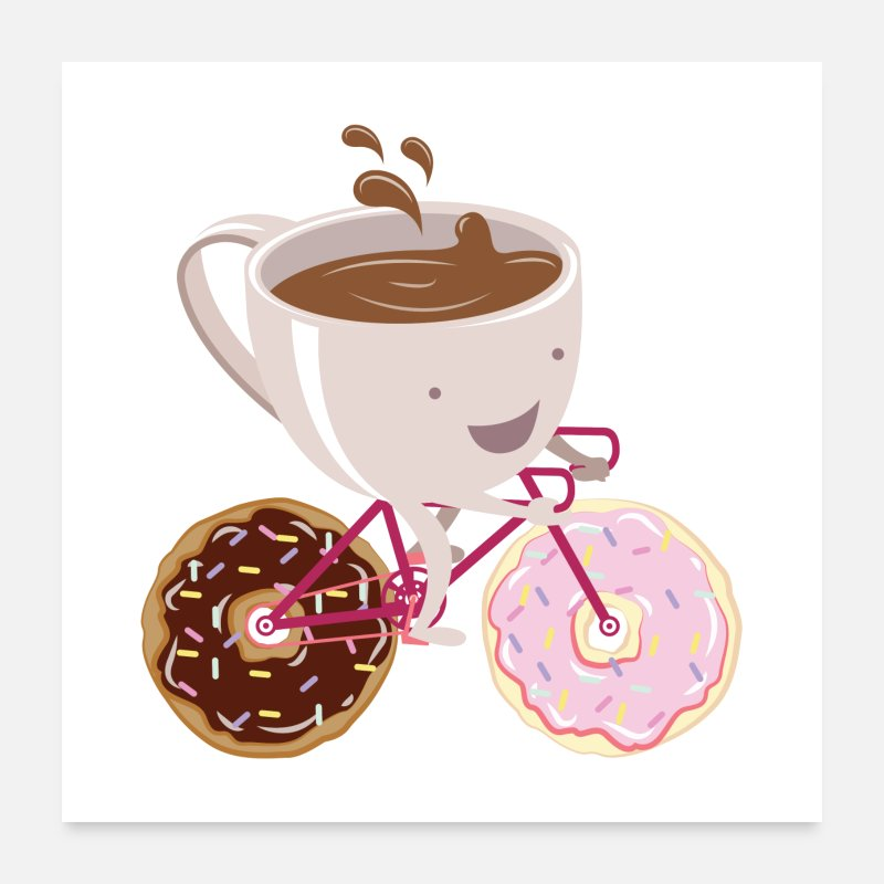 Koffie Posters - Koffiekop Donuts Fiets - Posters wit