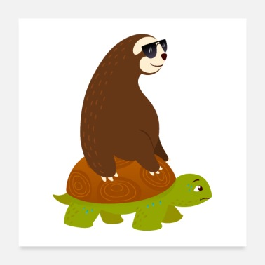 Ironi Sloth Riding On Turtle - Poster