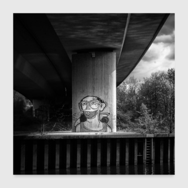 Graffiti Black White Urban Art Bridge Art - Poster 24 x 24 (60x60 cm)