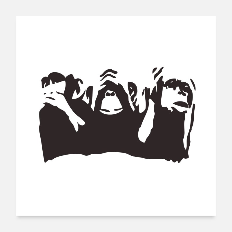 Philosophy Posters - 3 wise monkeys - Posters white