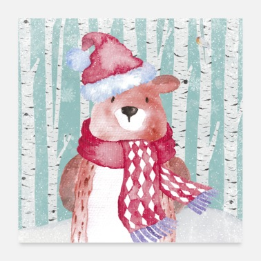 Christmas Collection Forest friends in the winter forest - The cozy bear - Poster 24 x 24 (60x60 cm)