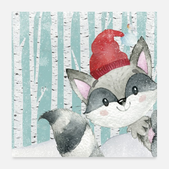 Bestseller Posters - Forest friends in the winter forest - The funny raccoon - Posters white