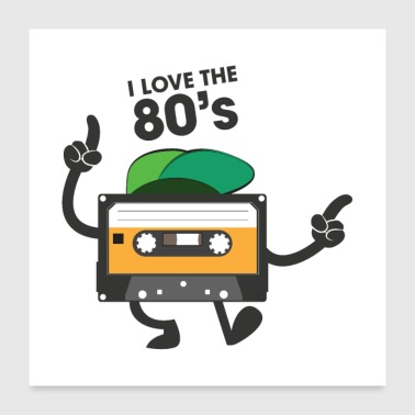 I Love The 80's - Dancing Cassette - Poster 24 x 24 (60x60 cm)
