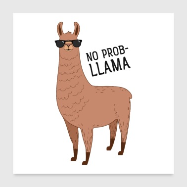 No Prob-Lllama - Cool Llama With Sunglasses - Poster 60x60 cm