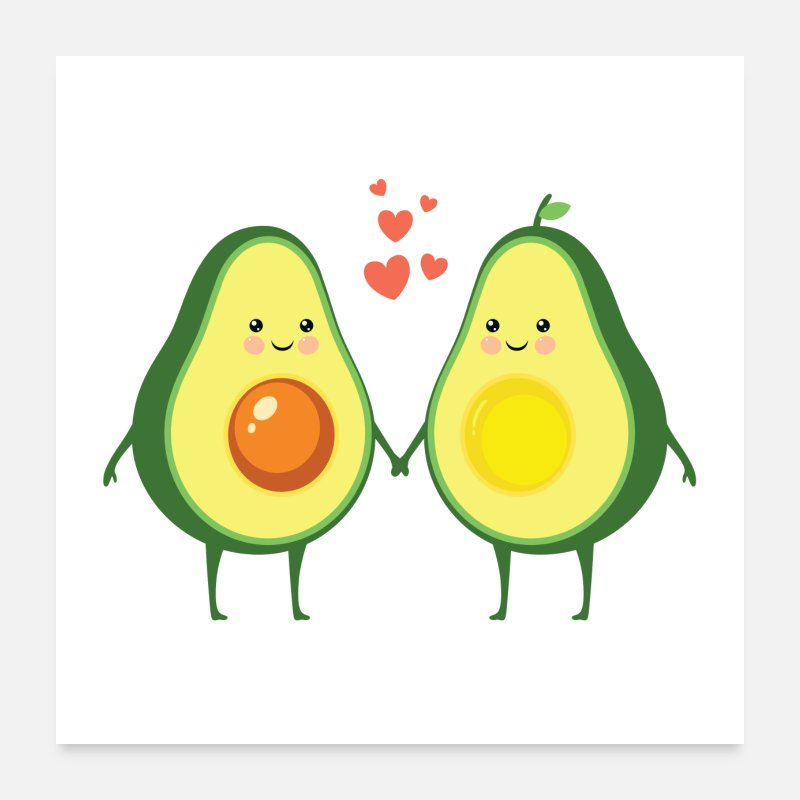 Paare Poster - Avocado Love Couple - Poster Weiß