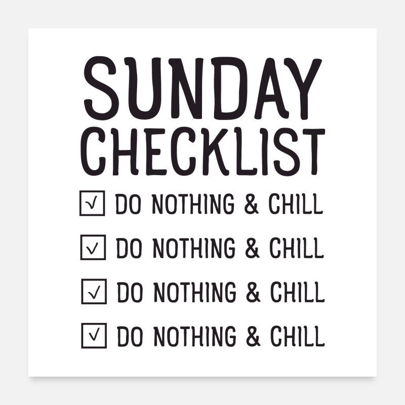 Office Posters - Sunday checklist - Posters white