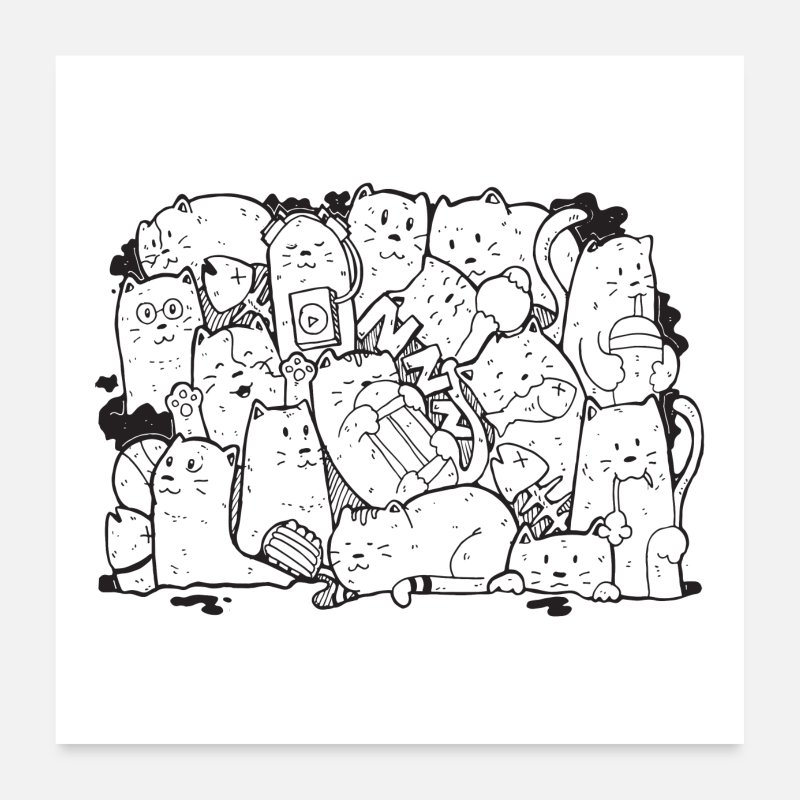 Domestic Posters - Cute Cat Doodle - Posters white