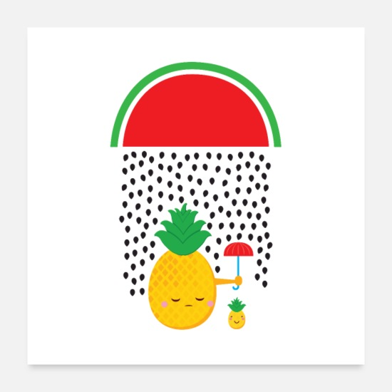 Monday Motivation Poster - Pineapple Watermelon Rain - Poster Weiß