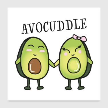 Avocuddle - Cool Avocado Love Couple - Poster 60x60 cm
