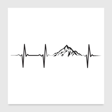 Heartbeat Pulse Frequency Mountains ECG - Poster 24 x 24 (60x60 cm)