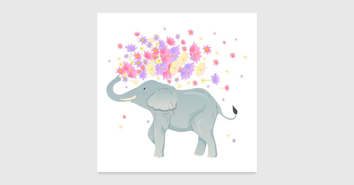 Elefant Lotus Blumen von yakoazon-poster   Spreadshirt