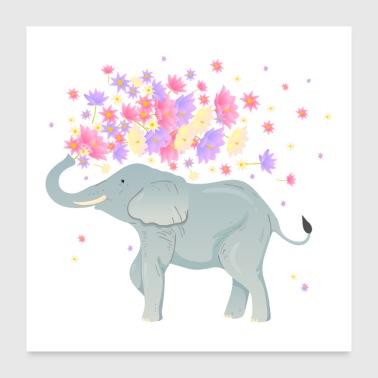 Shop lotus flower posters online spreadshirt elephant lotus flowers poster 24 x 24 60x60 cm mightylinksfo