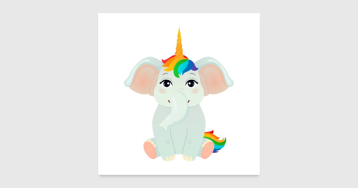 Elefant Einhorn von yakoazon-poster | Spreadshirt