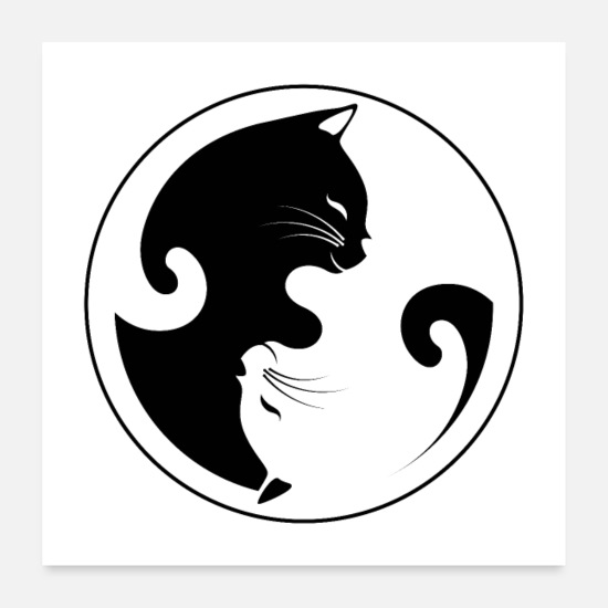 Day Posters - Ying Yang cat - Posters white