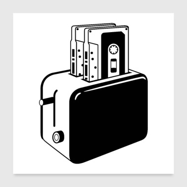 Retro cassettes toaster - Poster 24 x 24 (60x60 cm)