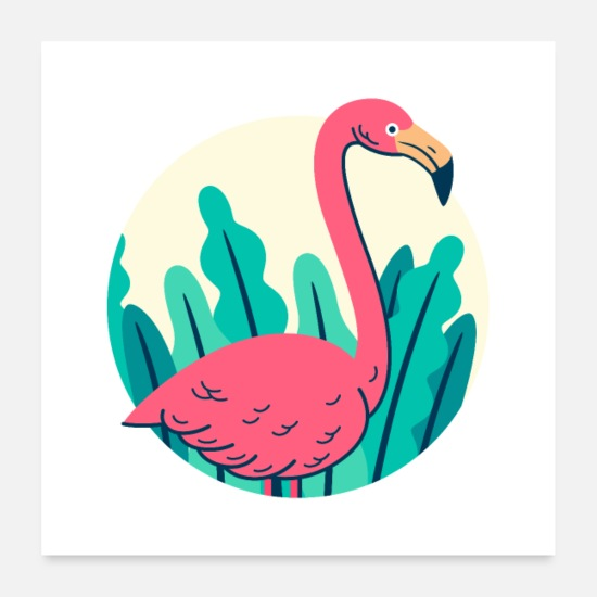 Collections Poster - Retro Flamingo Design - Poster Weiß