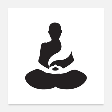 Meditation silhouette - Poster 24 x 24 (60x60 cm)