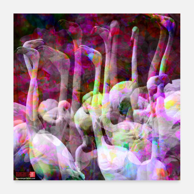 Wing Posters - 03 Flamingo Poster Pink Birds Pop Art Margarita - Posters white