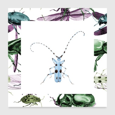 Insect blauw - Poster 60x60 cm