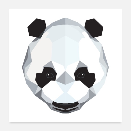 Coole Poster - Panda Polygon Design - Poster Weiß