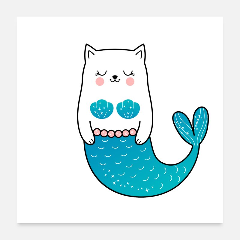 Birthday Posters - Cat Mermaid Design - Posters white