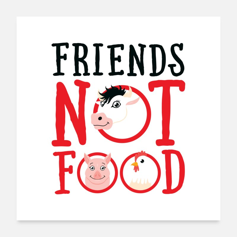 Animales Pósteres - Friends Not Food - Veganse - Pósteres blanco