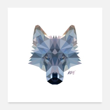 Style Wolf Kopf im Poly-Style - Poster 60x60 cm