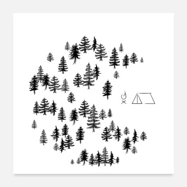Party Camp in the woods with campfire and tent - Poster