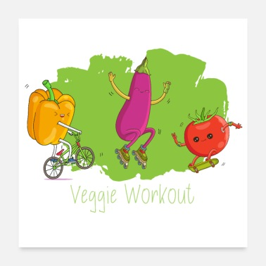 Workout Fitness Workout - Veggie Style for Vegan Athletes - Poster 24 x 24 (60x60 cm)