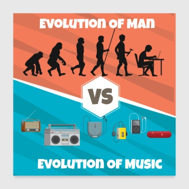 Dj Evolution of Music Rap HipHop Techno Trance House - Poster 24 x 24 (60x60 cm)