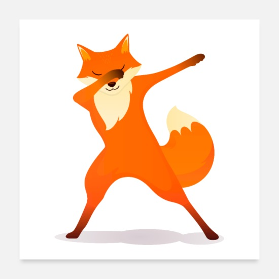 Birthday Posters - Fox Dabbing Dab Dance - Posters white